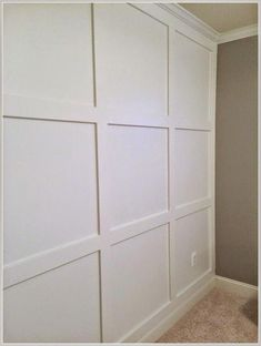 Diy square molding accent wall with crown (happily island after) Painted Wood Walls, Wood Panel Walls, Wood Wall Paneling, Planked Walls, Panel Moulding, Wall Molding, Molding Ideas, Diy Wall Decor For Bedroom, Bedroom Wall