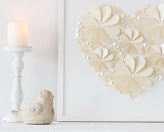 Heart Tree Guest Book - Custom Ivory Wedding 3D Folded Paper Petals Alternative Party Guestbook