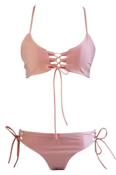 Hot Blush Lace-up Front Crossed Back Two Piece Swimwear