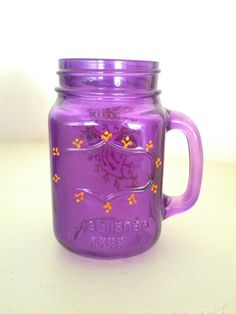 Set of 4 Mason Jars Glass Handle Tinted Purple with by RusticNids, $49.99