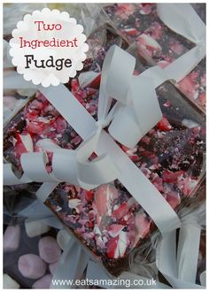 2 Ingredient 5 minute quick and easy fudge recipe - 1 recipe - endless flavour combinations! from Eats Amazing UK - this recipe is a brilliant idea for homemade edible gifts the kids can help make!