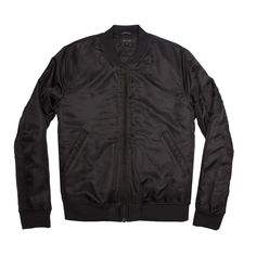 Dstld Mens Nylon Bomber Jacket With Black Zippers In - XXS