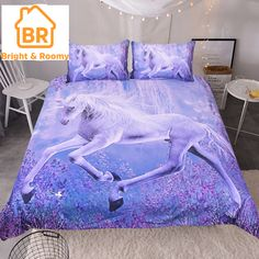 Teen Girl Bedrooms - Sleepwish Purple Unicorn Bedding Dreamy Lavender Unicorn Duvet Cover Teen Fantasy Animal Art Bed Comforter Cover Set Twin *** Discover more by seeing the picture web link. (This is an affiliate link). Unicorn Duvet Cover, Unicorn Bed Set, Unicorn Bedroom, Teen Bedding, Duvet Bedding Sets, Tribal Bedding, Comforters, Bed Covers, Duvet Cover Sets