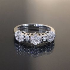 estate 14k White gold Natural 3 Flower Diamond Cluster Cocktail ring band .77ctw by crystalanchor on Etsy