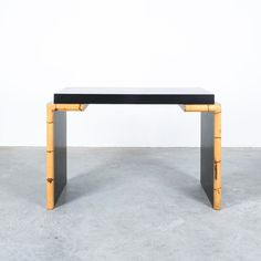Bamboo Black Formica Desk Postmodern, Italy circa 1985 Console Table, Dining Bench, Botanical Decor, Small Tables, Postmodernism, Vienna, Bamboo, Minimalist, Desk