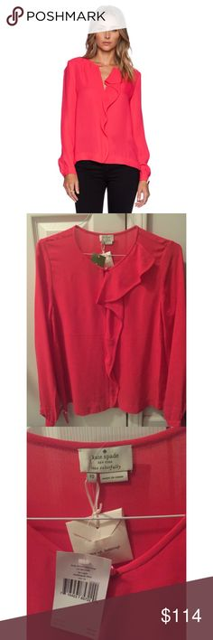 """NWT Kate Spade Longsleeve Aladdin Pink Edison Top This is a new with tags/never worn. Retail $228. 100% viscose. Style """"Long Sleeve Edison Top"""". Color """"Aladdin Pink"""". Collection """"Las Vegas"""". The top is a dark reddish blush pink color. The top is made of a medium weight viscose material. Keyhole opening with button at the front neckline. Front center ruffle. Long sleeves which button at the cuffs. Pull-over style. Unlined. kate spade Tops Blouses"""