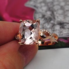 cushion cut Morganite ring 10x8mm14K Rose Gold by 4YOURSELF, $539.00