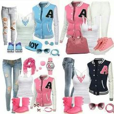 ♡ clothes and outfits ♡. Cute Tomboy Outfits, Teen Fashion Outfits, Stylish Outfits, Girl Outfits, Kids Fashion, Letterman Jacket Outfit, Letterman Jackets, Varsity Jackets, Swagg Girl