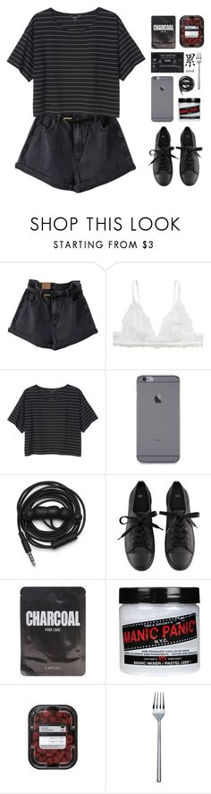 """""""Don't sugarcoat me 'cause I feel like su¡cide"""" by themusiccookie ❤ liked on Polyvore featuring Monki, Urbanears, H&M, Manic Panic NYC and Alessi"""