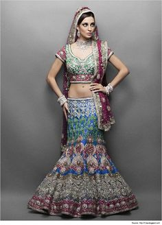 An amazing collection of photographs of the latest bridal lehenga designs and styles for Bangladeshi, Indian and Pakistani brides. Indian Bridal Wear, Blue Bridal, Indian Dresses, Indian Outfits, Indian Clothes, Latest Bridal Lehenga Designs, Latest Indian Fashion Trends, Bride Tank Tops, Party Wear Dresses