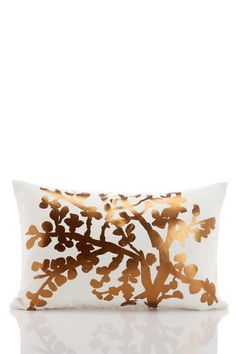 """Branch Drawing Metallic Bronze on White Cotton/Linen Pillow - 14"""" x 20""""    by Vintage Chic Linen Bedding on @HauteLook"""