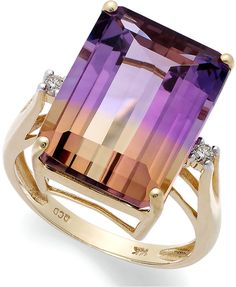 14k Gold Ring, Ametrine (10 ct. t.w.) and #Diamond Accent Emerald-Cut Ring