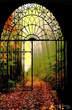Gates of Autumn, Czech Republic. love the gate way. Wouldn't mind a gate at the end of the driveway Beautiful World, Beautiful Places, Beautiful Pictures, Simply Beautiful, Absolutely Gorgeous, Amazing Grace, Magic Places, The Secret Garden, Iron Gates