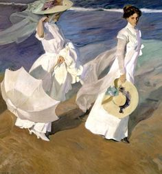 Joaquín Sorolla y Bastida was born in 1863 in Valencia, Spain, and died in 1923. His style is impressionistic, but full of the Mediterranean light that inundate many of his paintings.