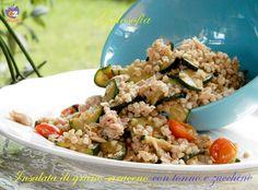 Insalata di grano saraceno con tonno e zucchine, piatto ricco, gustoso e completo! privo di glutine. Perfetto per chi soffre di celiachia o segue una dieta.