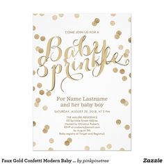 Faux Gold Confetti Modern Baby Sprinkle Invitation Customize this stylish Baby Sprinkle invitation with lovely faux gold faux glitter sprinkle confetti on a white background. Please note that the gold and the glitter are flat color print and are not metallic shiny foil press. Neutral Baby Shower design perfect for a baby boy or for a baby girl. Quick and easy customization, change all the template information with your own. Matching Words of Advice Card, Bring a Book Request Insert Card…
