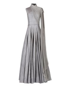 Shantanu & Nikhil Grey Raw Silk Anarkali with Drape Dupatta