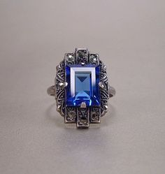Art Deco Sterling Silver Sapphire Blue Glass Ring Marcasites ...