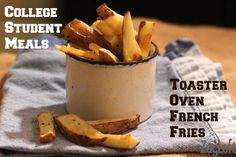 Oven baked french fries are lower in fat and calories than deep fried potatoes and you can even bake them in your toaster oven.