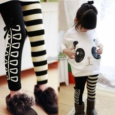 Filles-T-shirt-Panda-Batwing-Top-blanc-raye-noir-Legging-Pantalons-bebe-Costume
