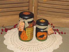 Autumn handpainted vintage mason jars pumpkin primitive farmhouse country