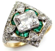Marcus and Co emerald and diamond ring, circa 1910.Art Deco