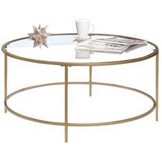 Sauder International Round Gold Glass Lux Coffee Table C 213 99 Wayfair Ca