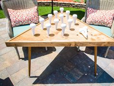 Diy life sized peg game outdoor table ken wingard is making a fun game that is perfect for your summertime gathering do it yourself outdoor party games {the best backyard entertainment diy projects} Giant Outdoor Games, Outdoor Yard Games, Diy Yard Games, Giant Games, Diy Games, Backyard Games, Outdoor Fun, Lawn Games, Indoor Games