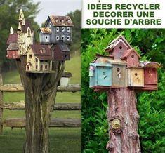 Idées recyclages et décorations souches d'arbres Tree Stem, Garden Projects, Bird Houses, Agriculture, Decoration, Outdoor Decor, Recycling Ideas, Pins, Home Decor