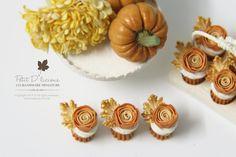 THREE (3) Elegant Autumn Orange rose Cupcakes 1/12 Miniature Dessert by PetitDlicious on Etsy