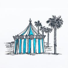 """46 Likes, 1 Comments - W.W. Pierce (@willustrating) on Instagram: """"A tent in La Ciotat I imagine to contain a carousel.  #tombowfudenosuke #tombowbrushpen #tombow…"""""""