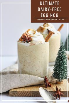 Healthy Recipes : Illustration Description The Ultimate Dairy-Free Egg Nog! so rich and creamy – tastes just like the real thing, but without any dairy! Dairy Free Eggs, Dairy Free Recipes, Vegan Recipes, Gluten Free, Healthy Smoothies, Healthy Drinks, Smoothie Recipes, Healthy Desserts, Healthy Foods
