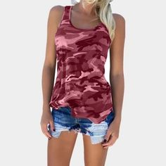 Summer for Women Print T Shirt Sleeveless Tank Top Bandage Casual Tops Camisole Female Halter Tank Top Camouflage T Shirts, Camouflage Fashion, Plus Size Tank Tops, Plus Size T Shirts, Top Azul, Camo Tank Tops, Crop Tops, Bleu Violet, Blouses For Women