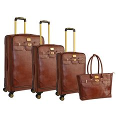 Jetset in style with this faux Saffiano leather luggage set, perfect for weekend jaunts and exotic getaways. 3 versatile suitcases feature multi-directional ...