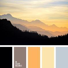 кофейный, насыщенный желтый, нежный коричневый, оттенки заката, оттенки оранжевого, серый, теплый желтый, цвет какао, цвет оранжевого заката, цвета закатного неба, черный, яркий оранжевый.