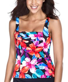 2aed607f8d Caribbean Joe Black   Blue Tropical Bliss Pleated Tankini Top