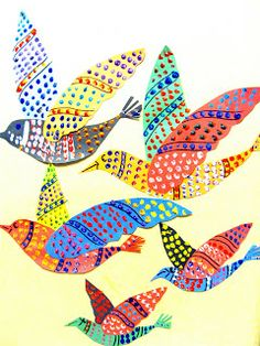 colormehappy:  Gond Painting from India using paper, scissors, paint, marker, and glue. Birds using lines and shapes.