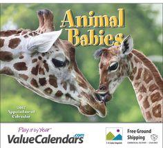 "2017 Animal Babies Calendar | 10-1/2"" x 18"" Staple Bound; Drop Ad Imprint Business Calendar"