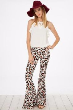 Animal Print Bell Bottom Soft Pants - Peach Love - Debra's Passion Boutique - 1