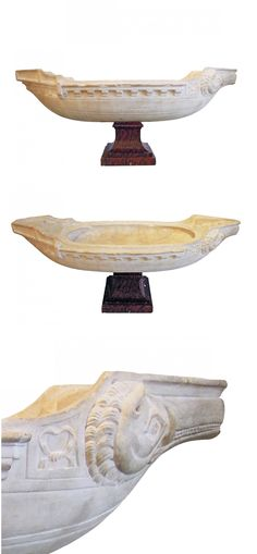 """Antique Italian carved marble """"Galleon"""", possibly Roman - Dim: Height: Width: Depth: Roman, Obelisks, Grand Tour, Marble, Carving, Antique, Architecture, Art, Arquitetura"""