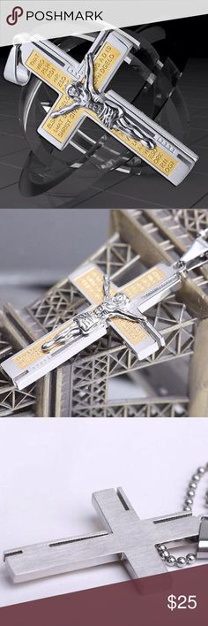 Stainless Steel Catholic Crucifix Cross Pendant High quality Catholic Crucifix, two tone, stainless steel with free popcorn necklace, comes in poly bag, brand new Mendino Accessories Jewelry