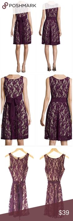 """New Lace Overlay Eggplant Sleeveless Dress Featuring elegant allover lace and a stunning sash at the waist, this sleeveless floral lace fit-and-flare dress is perfect for your next formal occasion. The sash isn't as wide as in the first picture. invisible back zip 38½"""" length from shoulder lined polyester/nylon hand wash, line dry. Easter dress 🌺   🔺Questions? Please ask.  🔺I want your Poshmark experience to be easy & enjoyable. 🔺Thank you for shopping at Posh Mishmosh. Dresses"""