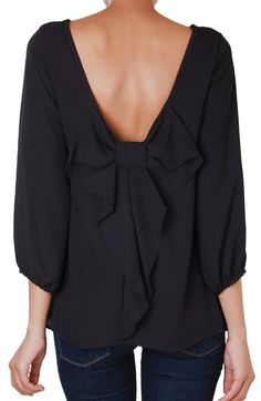 Long Sleeve Chiffon Top - Bow Back Blouse Black Medium by: Humble Chic NY @Humble Chic (NY)