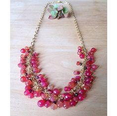 Pink dyed Apatite Gemstones necklace on gold by UrbanGypsyGems