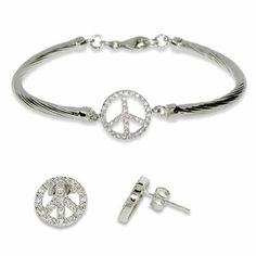 CZ Peace Sign Bracelet and Earrings Set Eve's Addiction. $64.00. Charm Size: 0.5 inch peace sign. Metal Finish: sterling-silver-rhodium-finished. TCW: .64 carats. Approximate Weight: 0.8 grams per earring. Save 14%!