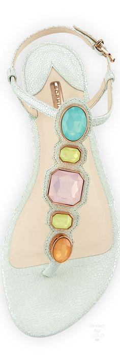 Sophia Webster Lily Gem Iridescent Sandal, Mint | LOLO❤︎