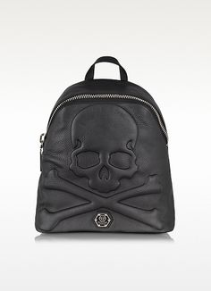 PHILIPP PLEIN Black Leather Dark Skull Backpack Find more authentic designer handbags @ www.womensdesignerhandbag.com where we pull all the current auctions from eBay onto one site in real time.