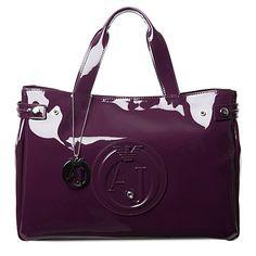 ARMANI JEANS Patent shopper bag