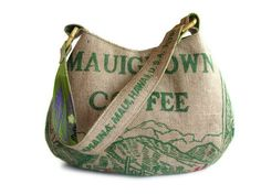 Repurposed Burlap Coffee Bag. Mauigrown Hobo Handbag and Purse. Handmade in Hawaii. Made To Order.
