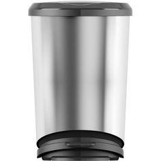 KIS Tondo 11-Gallon Step-On Waste Bins, Set of 4, Silver